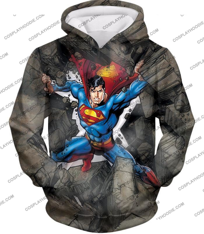 Super Strong Comic Hero Superman Awesome Animated Graphic T-Shirt Su014 Hoodie / Us Xxs (Asian Xs)