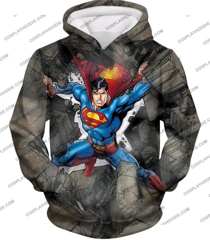 Image of Super Strong Comic Hero Superman Awesome Animated Graphic T-Shirt Su014 Hoodie / Us Xxs (Asian Xs)