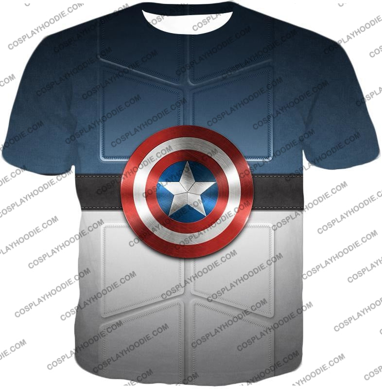 Super Cool Captain America Uniform Patterned With Shield T-Shirt Ca014 / Us Xxs (Asian Xs)