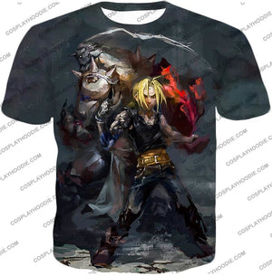 Fullmetal Alchemist Super Cool Anime Art Alchemy Brothers Edward X Alphonse Amazing Black T-Shirt