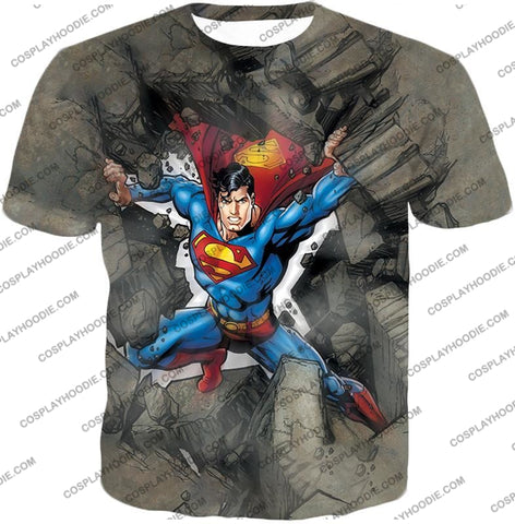 Image of Super Strong Comic Hero Superman Awesome Animated Graphic T-Shirt Su014 / Us Xxs (Asian Xs)