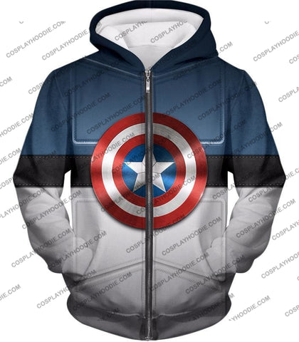 Image of Super Cool Captain America Uniform Patterned With Shield T-Shirt Ca014 Zip Up Hoodie / Us Xxs (Asian