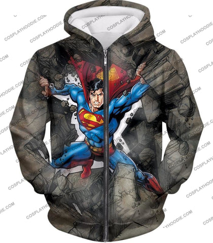 Image of Super Strong Comic Hero Superman Awesome Animated Graphic T-Shirt Su014 Zip Up Hoodie / Us Xxs