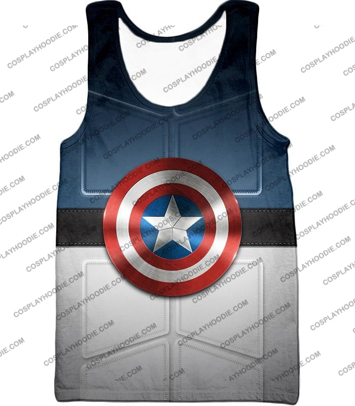 Super Cool Captain America Uniform Patterned With Shield T-Shirt Ca014 Tank Top / Us Xxs (Asian Xs)