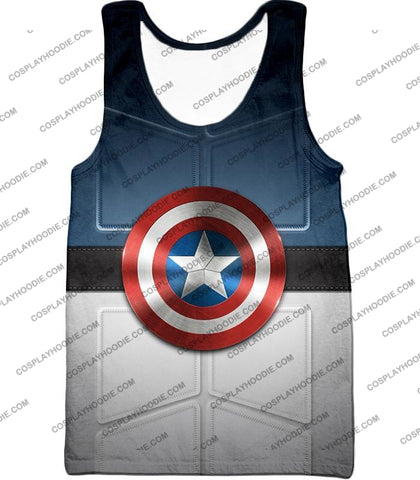 Image of Super Cool Captain America Uniform Patterned With Shield T-Shirt Ca014 Tank Top / Us Xxs (Asian Xs)