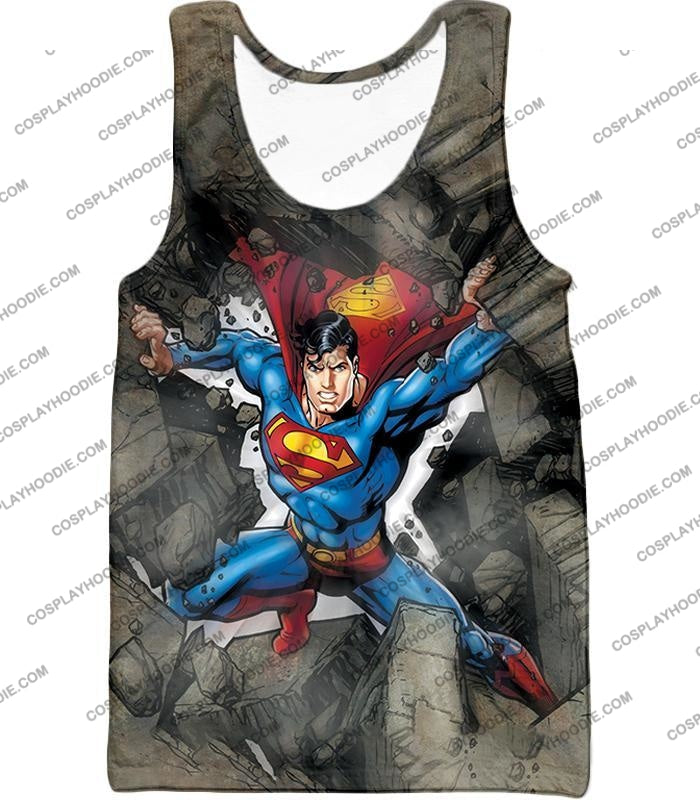 Super Strong Comic Hero Superman Awesome Animated Graphic T-Shirt Su014 Tank Top / Us Xxs (Asian Xs)