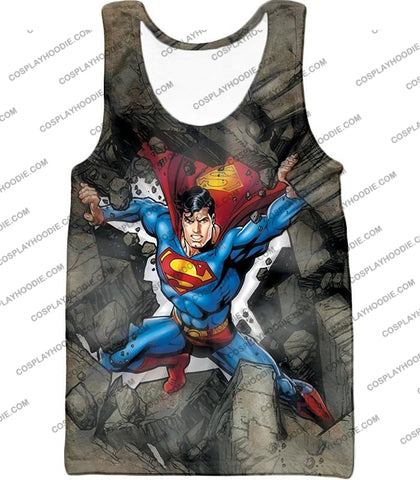 Image of Super Strong Comic Hero Superman Awesome Animated Graphic T-Shirt Su014 Tank Top / Us Xxs (Asian Xs)