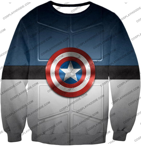Image of Super Cool Captain America Uniform Patterned With Shield T-Shirt Ca014 Sweatshirt / Us Xxs (Asian