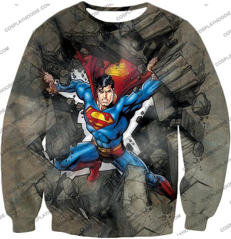Image of Super Strong Comic Hero Superman Awesome Animated Graphic T-Shirt Su014 Sweatshirt / Us Xxs (Asian