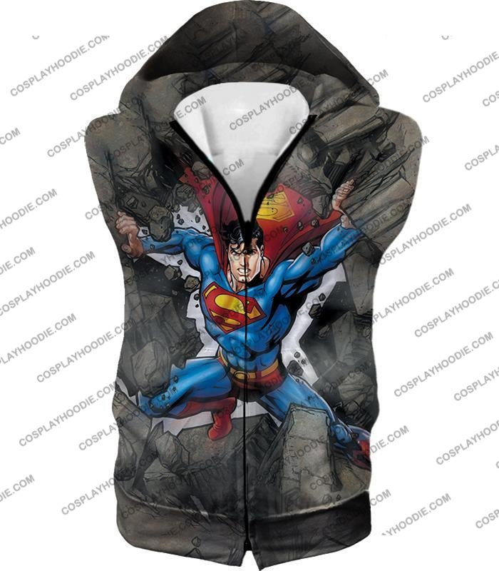 Super Strong Comic Hero Superman Awesome Animated Graphic T-Shirt Su014 Hooded Tank Top / Us Xxs