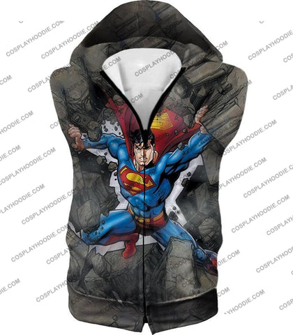 Image of Super Strong Comic Hero Superman Awesome Animated Graphic T-Shirt Su014 Hooded Tank Top / Us Xxs