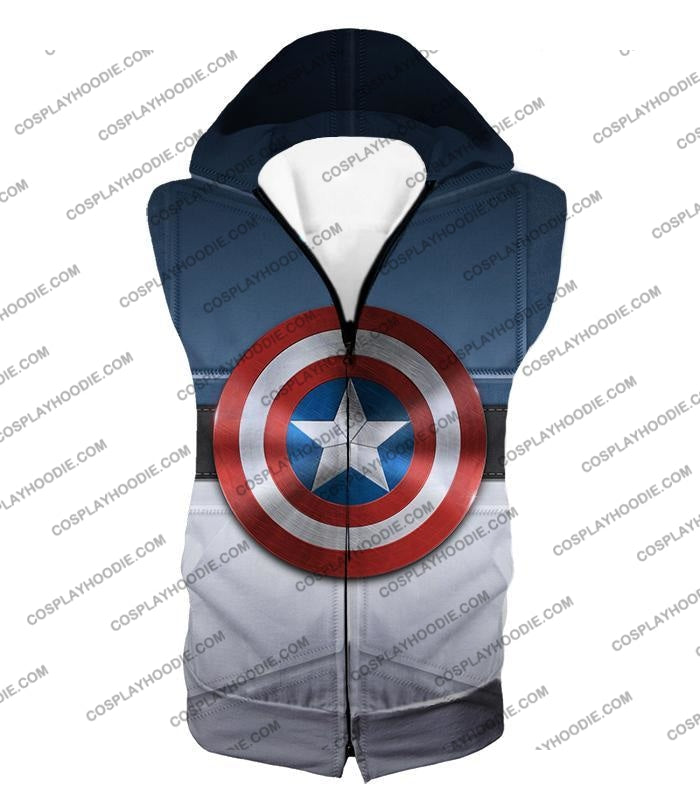 Super Cool Captain America Uniform Patterned With Shield T-Shirt Ca014 Hooded Tank Top / Us Xxs