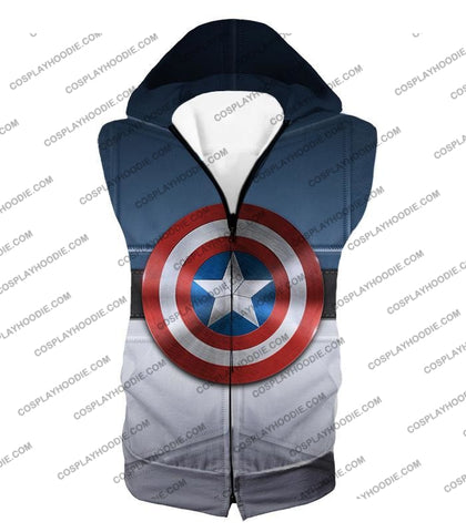 Image of Super Cool Captain America Uniform Patterned With Shield T-Shirt Ca014 Hooded Tank Top / Us Xxs
