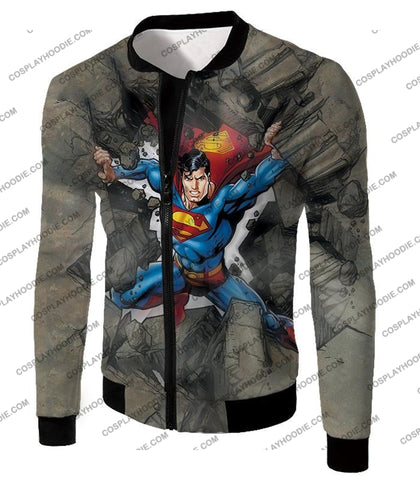 Image of Super Strong Comic Hero Superman Awesome Animated Graphic T-Shirt Su014 Jacket / Us Xxs (Asian Xs)