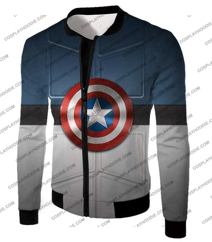 Image of Super Cool Captain America Uniform Patterned With Shield T-Shirt Ca014 Jacket / Us Xxs (Asian Xs)