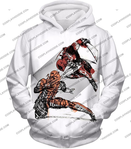 Image of Ultimate Fan Art Deadpool Vs Deathstroke Cool Action White T-Shirt Dp140 Hoodie / Us Xxs (Asian Xs)