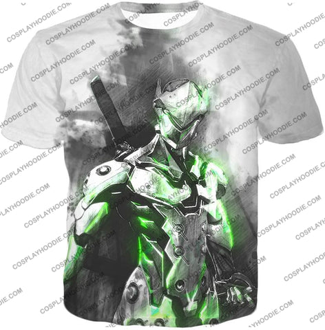 Image of Overwatch Favourite Agent Genji The Cyborg Ninja Cool White T-Shirt Ow140 / Us Xxs (Asian Xs)