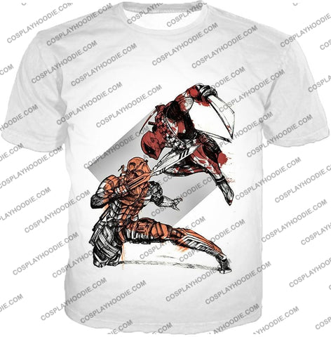 Image of Ultimate Fan Art Deadpool Vs Deathstroke Cool Action White T-Shirt Dp140 / Us Xxs (Asian Xs)