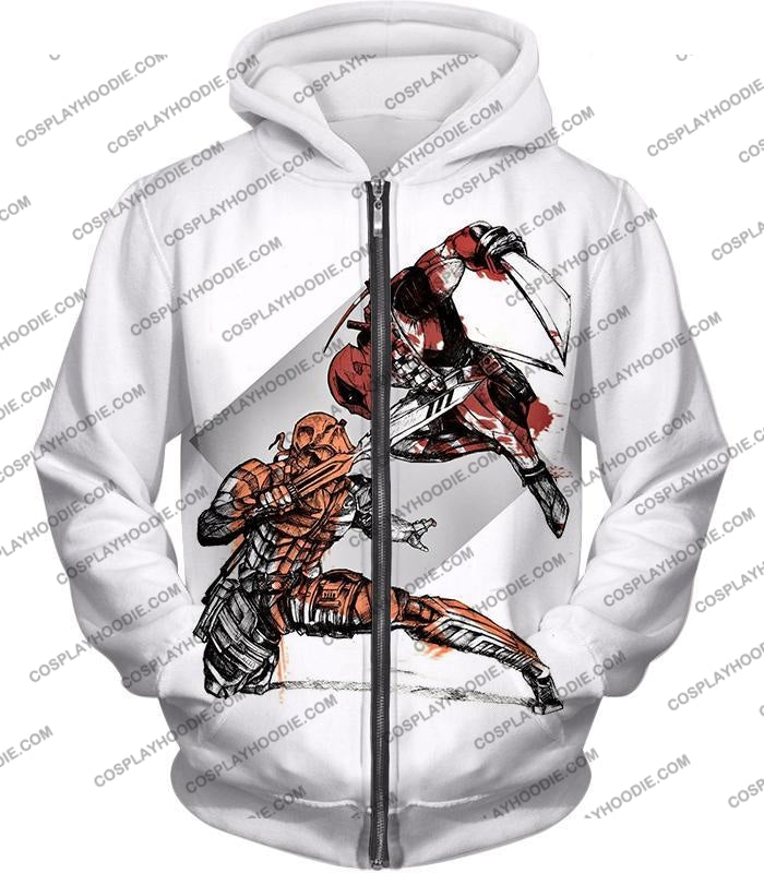 Ultimate Fan Art Deadpool Vs Deathstroke Cool Action White T-Shirt Dp140 Zip Up Hoodie / Us Xxs