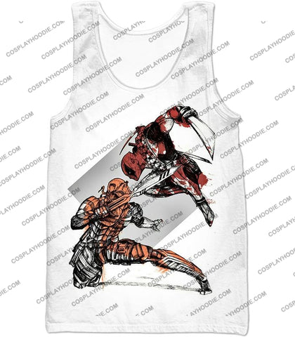 Image of Ultimate Fan Art Deadpool Vs Deathstroke Cool Action White T-Shirt Dp140 Tank Top / Us Xxs (Asian