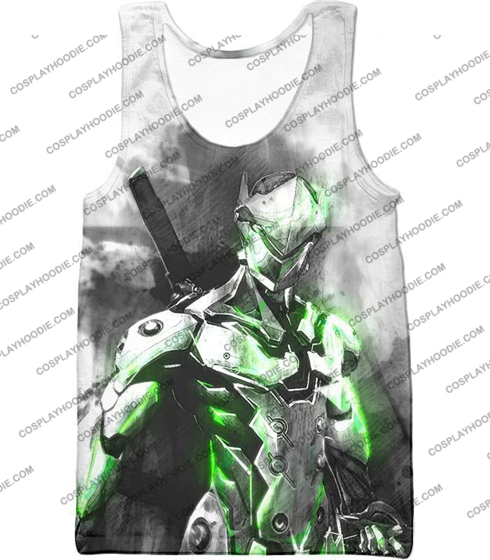 Overwatch Favourite Agent Genji The Cyborg Ninja Cool White T-Shirt Ow140 Tank Top / Us Xxs (Asian