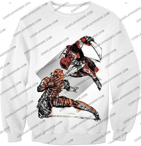 Image of Ultimate Fan Art Deadpool Vs Deathstroke Cool Action White T-Shirt Dp140 Sweatshirt / Us Xxs (Asian