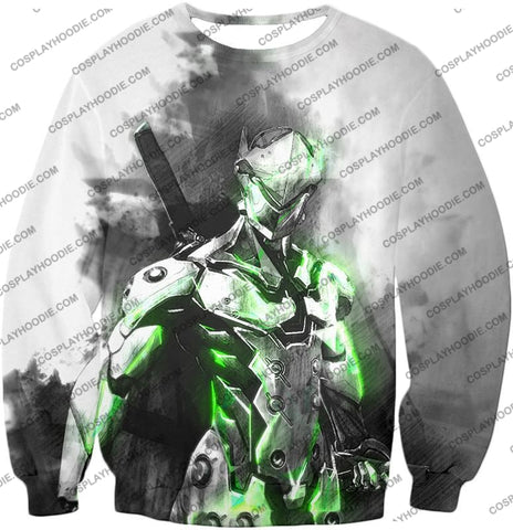 Image of Overwatch Favourite Agent Genji The Cyborg Ninja Cool White T-Shirt Ow140 Sweatshirt / Us Xxs (Asian