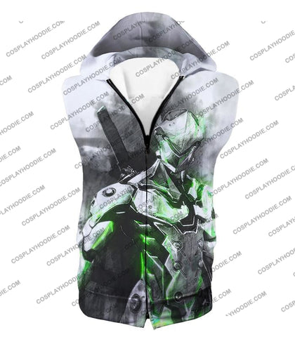 Image of Overwatch Favourite Agent Genji The Cyborg Ninja Cool White T-Shirt Ow140 Hooded Tank Top / Us Xxs