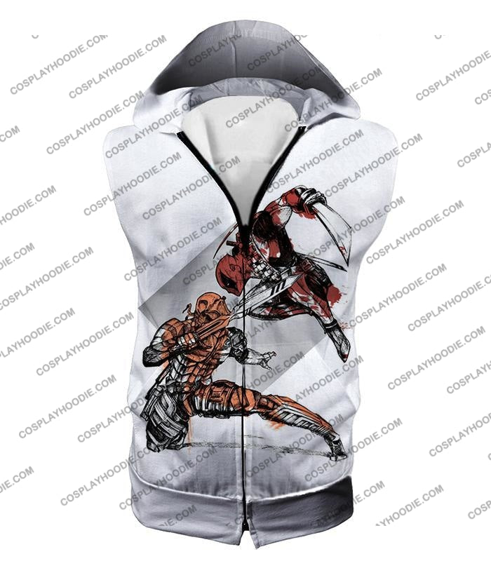 Ultimate Fan Art Deadpool Vs Deathstroke Cool Action White T-Shirt Dp140 Hooded Tank Top / Us Xxs