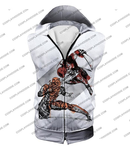 Image of Ultimate Fan Art Deadpool Vs Deathstroke Cool Action White T-Shirt Dp140 Hooded Tank Top / Us Xxs