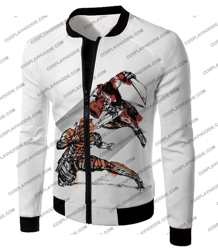 Ultimate Fan Art Deadpool Vs Deathstroke Cool Action White T-Shirt Dp140 Jacket / Us Xxs (Asian Xs)