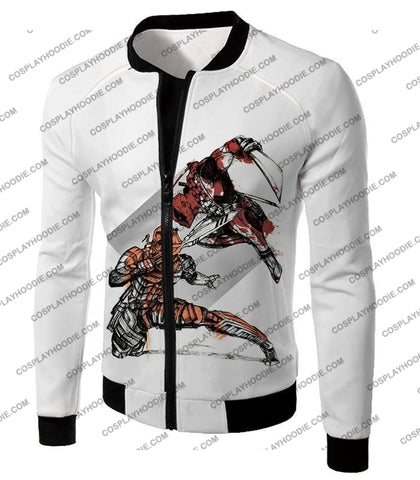 Image of Ultimate Fan Art Deadpool Vs Deathstroke Cool Action White T-Shirt Dp140 Jacket / Us Xxs (Asian Xs)