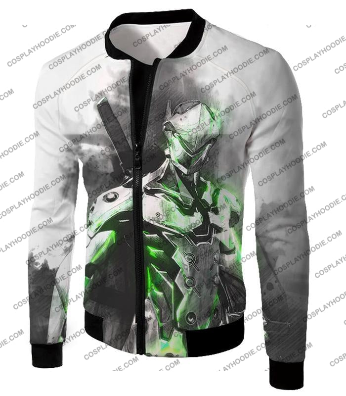 Overwatch Favourite Agent Genji The Cyborg Ninja Cool White T-Shirt Ow140 Jacket / Us Xxs (Asian Xs)