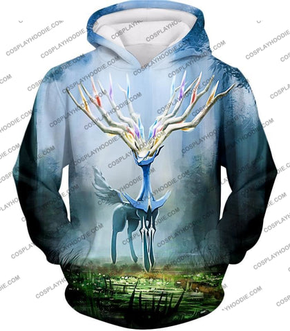 Image of Pokemon Very Cool Fairy Type Xerneas Awesome Anime Graphic T-Shirt Pkm142 Hoodie / Us Xxs (Asian Xs)