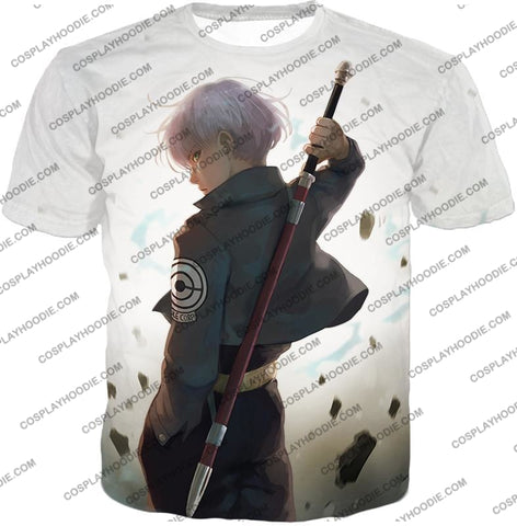 Image of Dragon Ball Super Extremely Cool Future Trunks Awesome Graphic White T-Shirt Dbs142 / Us Xxs (Asian