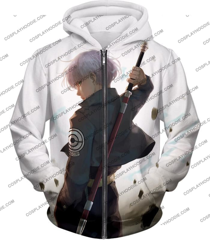 Dragon Ball Super Extremely Cool Future Trunks Awesome Graphic White T-Shirt Dbs142 Zip Up Hoodie /