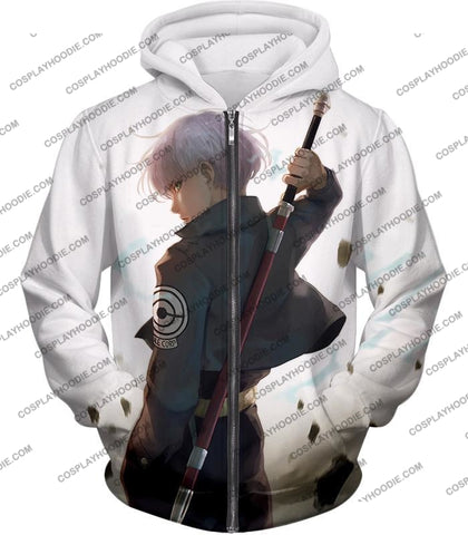 Image of Dragon Ball Super Extremely Cool Future Trunks Awesome Graphic White T-Shirt Dbs142 Zip Up Hoodie /