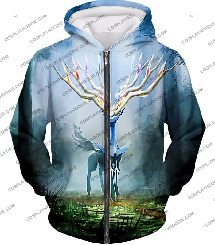 Pokemon Very Cool Fairy Type Xerneas Awesome Anime Graphic T-Shirt Pkm142 Zip Up Hoodie / Us Xxs