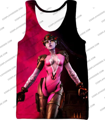 Image of Overwatch Very Hot Purple Assassin Widowmaker Red Black T-Shirt Ow142 Tank Top / Us Xxs (Asian Xs)