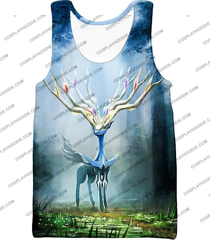 Pokemon Very Cool Fairy Type Xerneas Awesome Anime Graphic T-Shirt Pkm142 Tank Top / Us Xxs (Asian