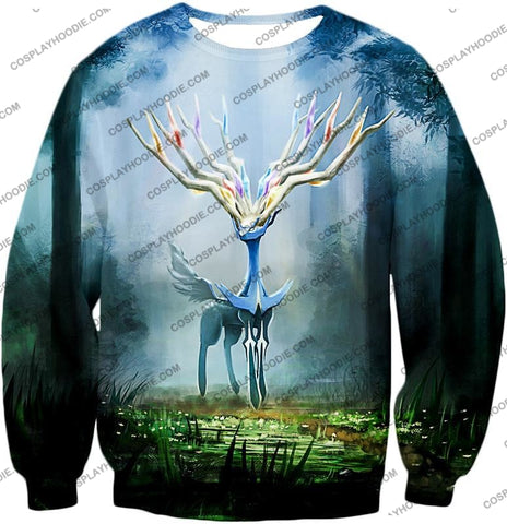 Image of Pokemon Very Cool Fairy Type Xerneas Awesome Anime Graphic T-Shirt Pkm142 Sweatshirt / Us Xxs (Asian