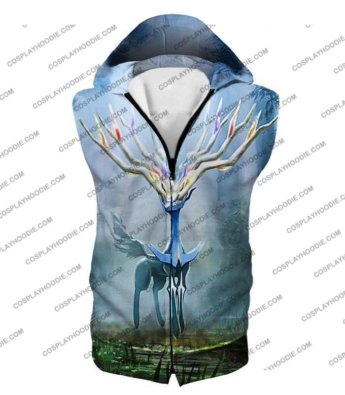 Pokemon Very Cool Fairy Type Xerneas Awesome Anime Graphic T-Shirt Pkm142 Hooded Tank Top / Us Xxs