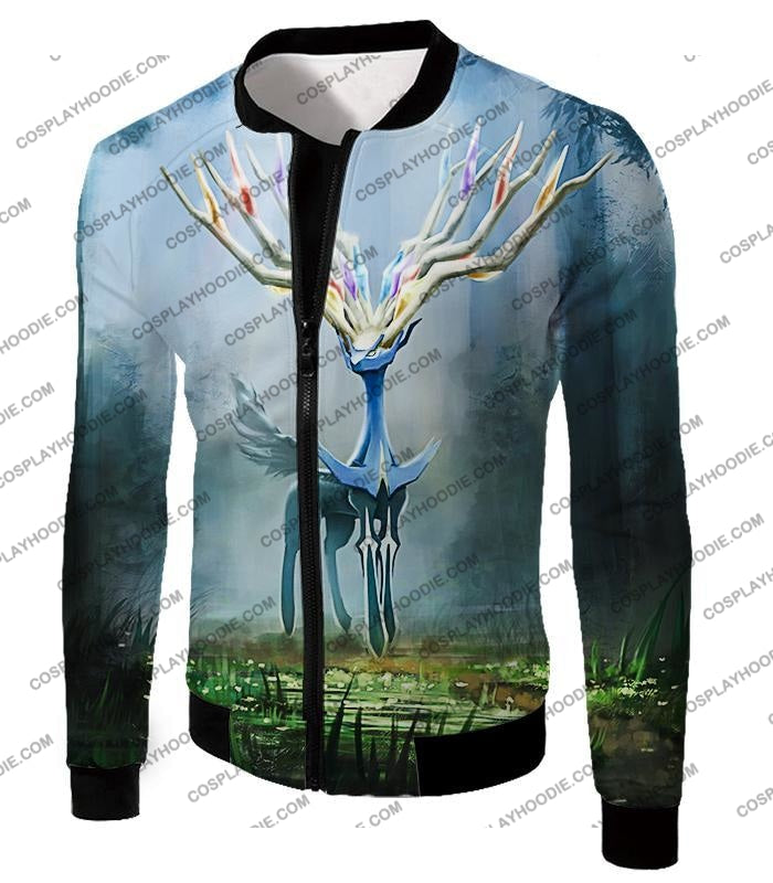 Pokemon Very Cool Fairy Type Xerneas Awesome Anime Graphic T-Shirt Pkm142 Jacket / Us Xxs (Asian Xs)