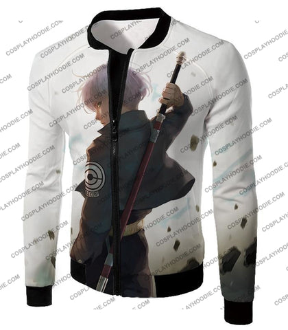 Image of Dragon Ball Super Extremely Cool Future Trunks Awesome Graphic White T-Shirt Dbs142 Jacket / Us Xxs