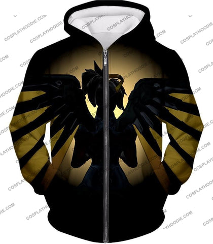 Image of Overwatch Awesome Flying Agent Healer Mercy T-Shirt Ow143 Zip Up Hoodie / Us Xxs (Asian Xs)