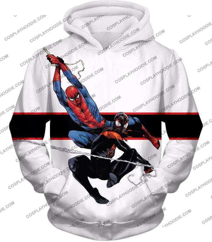 Spiderman X Black Cool Action White T-Shirt Sp144 Hoodie / Us Xxs (Asian Xs)