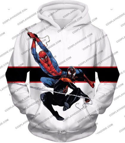 Image of Spiderman X Black Cool Action White T-Shirt Sp144 Hoodie / Us Xxs (Asian Xs)