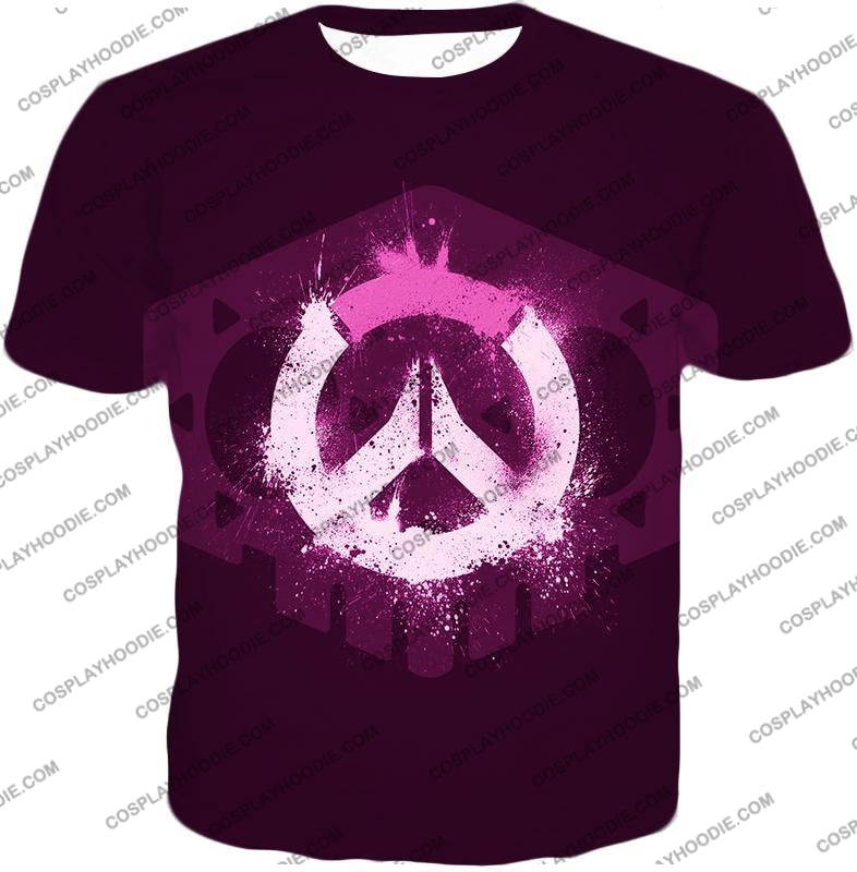 Overwatch Pink Logo Promo Maroon T-Shirt Ow144 / Us Xxs (Asian Xs)