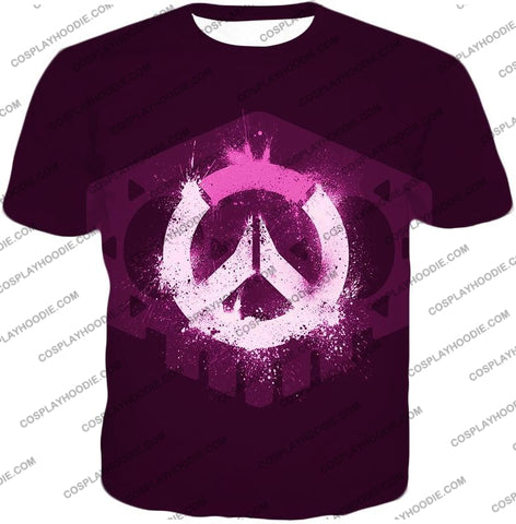 Image of Overwatch Pink Logo Promo Maroon T-Shirt Ow144 / Us Xxs (Asian Xs)