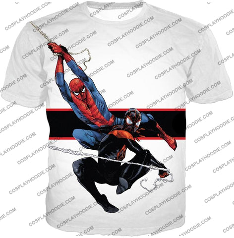 Image of Spiderman X Black Cool Action White T-Shirt Sp144 / Us Xxs (Asian Xs)